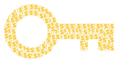 Key collage of dollars and circle spots. Vector money icons are organized into key collage.