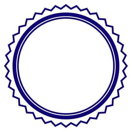 Rosette seal frame template. Vector draft element for stamp seals in blue color.