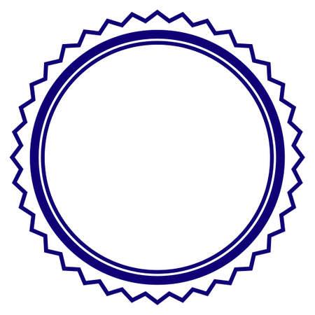 Rosette seal frame template. Vector draft element for stamp seals in blue color.