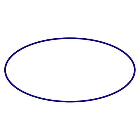 Ellipse frame template. Vector draft element for stamp seals in blue color. Illustration