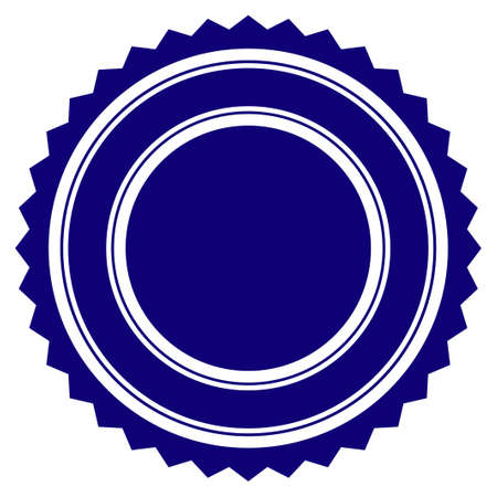 Round rosette seal template. Vector draft element for stamp seals in blue color. Ilustracja