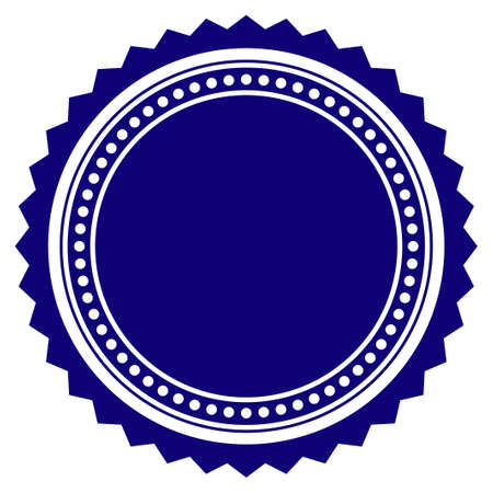Round rosette seal template. Vector draft element for stamp seals in blue color. Vettoriali