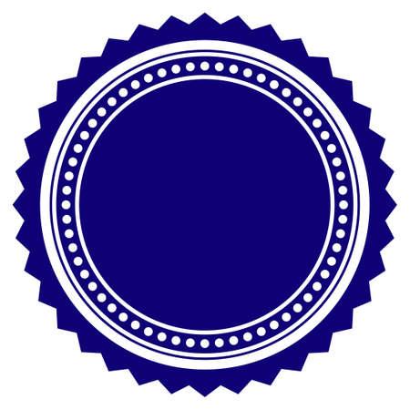 Modello di guarnizione rosetta rotonda. Elemento di progetto vettoriale per sigilli di francobolli in colore blu. Vettoriali