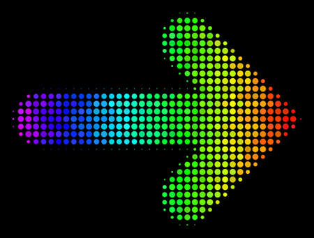 Dotted impressive halftone right arrow icon drawn with spectral color hues with horizontal gradient on a black background. Color vector composition of right arrow symbol made with circle pixels.