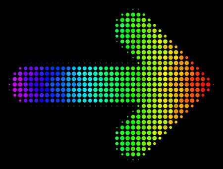 Icône de flèche droite en demi-teinte impressionnante en pointillé dessinée avec des teintes de couleur spectrale avec un dégradé horizontal sur fond noir. Composition de vecteur de couleur du symbole de la flèche droite faite avec des pixels de cercle. Vecteurs
