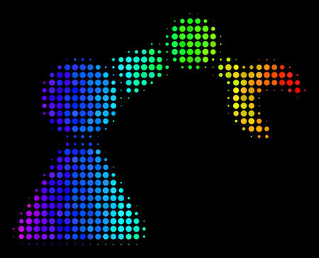 Dot colorful halftone robotics manipulator icon drawn with rainbow color hues with horizontal gradient on a black background.
