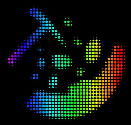 Pixelated colorful halftone rocks icon in spectral color tinges with horizontal gradient on a black background. Color vector collage of rocks  symbol created with round dots. Illustration