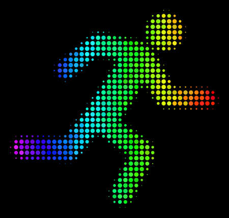 Dot bright halftone running man icon drawn with spectrum color tinges with horizontal gradient on a black background. Bright vector composition of running man symbol constructed from round elements.