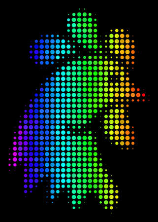 Dotted impressive halftone rooster head icon using rainbow color hues with horizontal gradient on a black background. Illustration