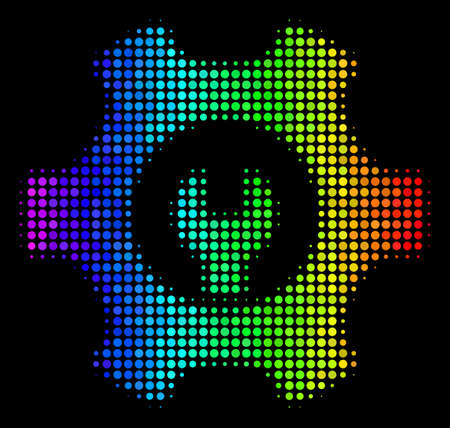 Dotted bright halftone service tools icon in rainbow color tints with horizontal gradient on a black background. Colored vector collage of service tools pictogram constructed from spheric items.