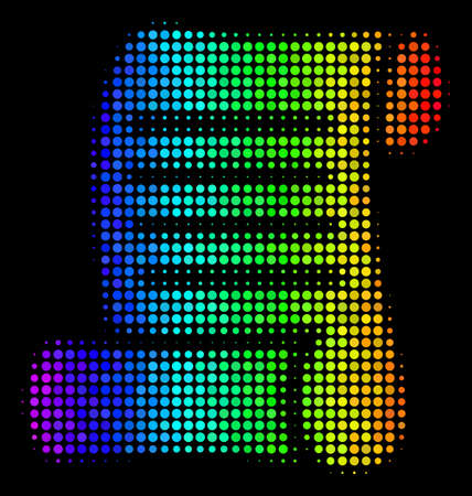 Dotted impressive halftone script roll icon in rainbow color shades with horizontal gradient on a black background. Colored vector pattern of script roll symbol formed from spheric items.