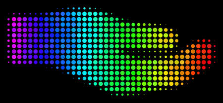 Pixel colorful halftone share hand icon using rainbow color shades with horizontal gradient on a black background. Colored vector mosaic of share hand illustration done of circle pixels.
