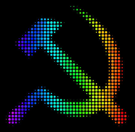 Dot bright halftone sickle and hammer icon using spectrum color shades with horizontal gradient on a black background.