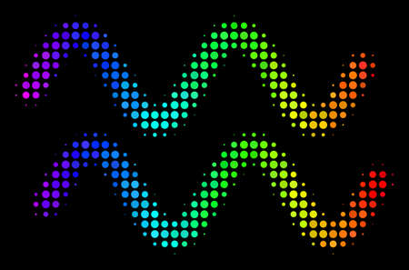 Dot bright halftone sinusoid waves icon in spectral color tones with horizontal gradient on a black background. Colored vector concept of sinusoid waves symbol constructed of round particles. Illustration