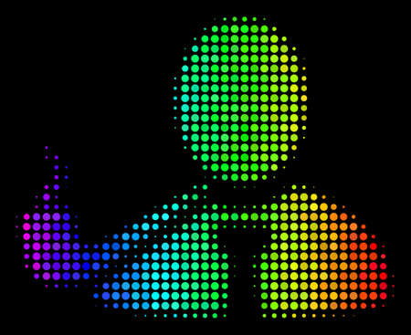 Dot bright halftone smoking detective icon drawn with rainbow color shades with horizontal gradient on a black background. Colored vector mosaic of smoking detective illustration done of round pixels. Illustration