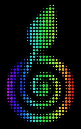 Dot bright halftone seed sprout icon using rainbow color variations with horizontal gradient on a black background. Multicolored vector pattern of seed sprout pictogram done of spheric cells. Ilustração