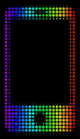 Pixel bright halftone smartphone icon drawn with spectral color hues with horizontal gradient on a black background. Colored vector pattern of smartphone symbol done of spheric cells.