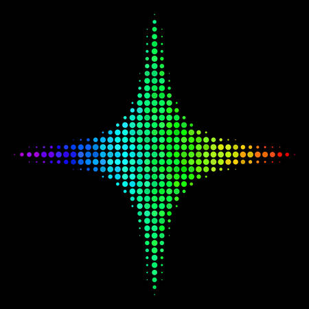 Dotted impressive halftone space star icon using spectral color tones with horizontal gradient on a black background. Color vector mosaic of space star symbol designed of round pixels. Ilustração