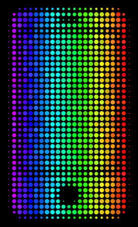 Dotted bright halftone smartphone icon in rainbow color hues with horizontal gradient on a black background. Color vector composition of smartphone pictogram created with spheric elements.