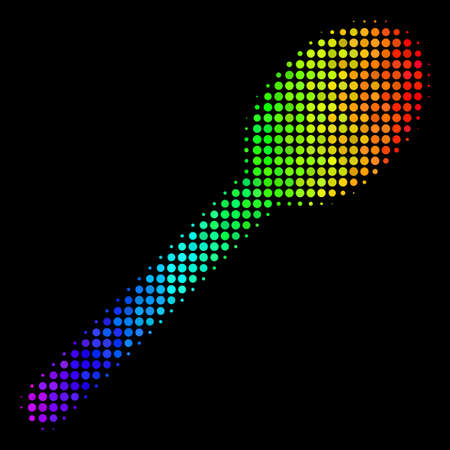 Dotted bright halftone spoon icon in rainbow color tinges with horizontal gradient on a black background. Colored vector mosaic of spoon pictogram composed of spheric elements.