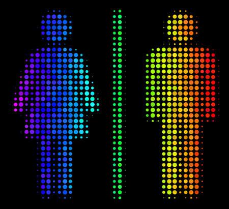 icono de personas de medios de comunicación brillantes de medios tonos en colores vibrantes gradiente con gradiente horizontal sobre un fondo negro . vector de diseño de color de la celebración de los niños del tocador de la vela de la forma inferior Ilustración de vector