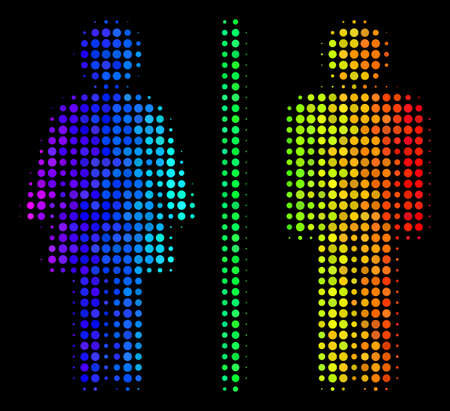 Pixelated bright halftone toilet persons icon in rainbow color hues with horizontal gradient on a black background. Colored vector concept of toilet persons pictogram designed of spheric cells.