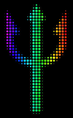 Dotted colorful halftone trident fork icon using spectrum color tinges with horizontal gradient on a black background. Bright vector collage of trident fork illustration created of round particles.