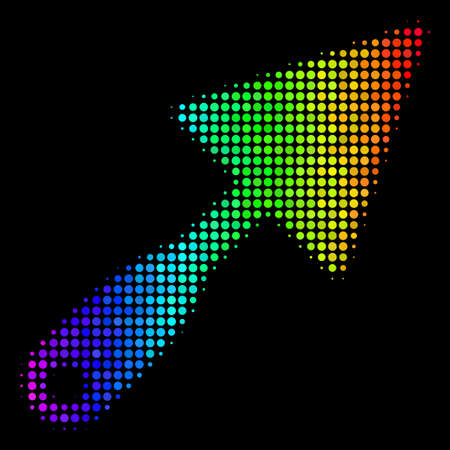 Dotted impressive halftone trowel icon using rainbow color tints with horizontal gradient on a black background. Color vector pattern of trowel illustration formed from circle pixels.
