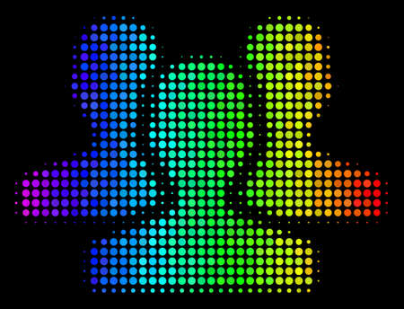 Pixelated colorful halftone users icon drawn with spectral color tinges with horizontal gradient on a black background. Colorful vector concept of users symbol organized with circle items.