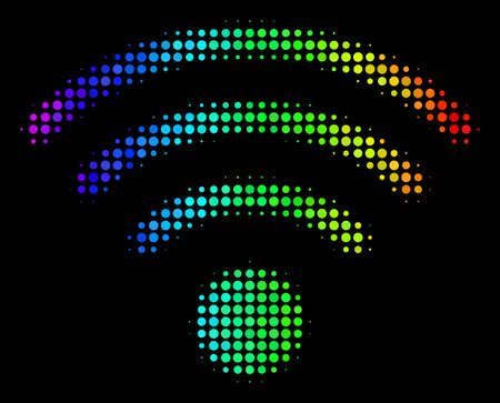 Dotted colorful halftone wifi source icon drawn with spectral color tinges with horizontal gradient on a black background.