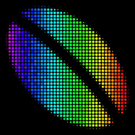 Pixelated impressive halftone wheat seed icon in spectrum color tones with horizontal gradient on a black background. Multicolored vector concept of wheat seed pictogram organized from spheric cells.