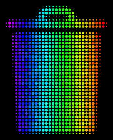 Dot colorful halftone trash bin icon using rainbow color tinges with horizontal gradient on a black background. Multicolored vector concept of trash bin illustration composed with circle particles.