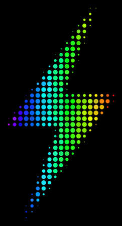 Pixel impressive halftone electric bolt icon using rainbow color hues with horizontal gradient on a black background. Colorful vector pattern of electric bolt symbol made from spheric dots.