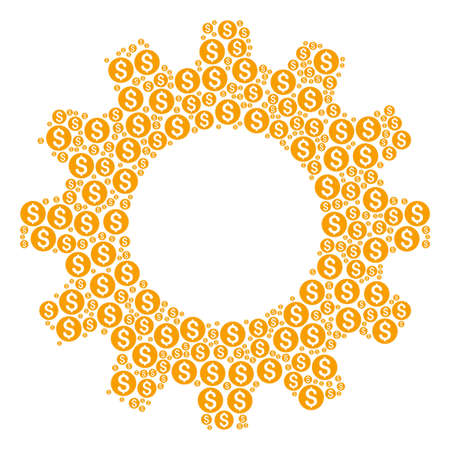 Vector dollar coin icons are united into gearwheel mosaic. Service design concept constructed from dollar coin icons.