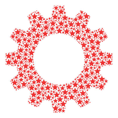 Vector five-pointed star icons are combined into gear wheel collage. Engineering design concept constructed from five-pointed star icons. Illustration