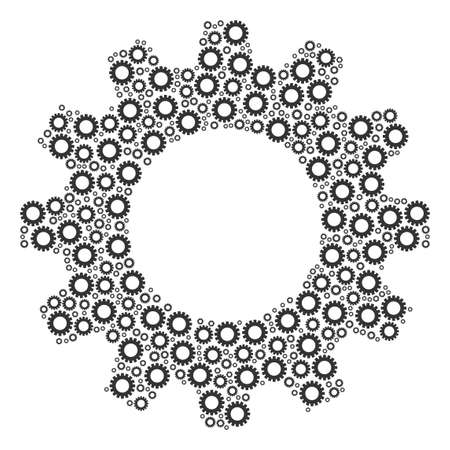 Vector gear icons are composed into cogwheel illustration. Engineering design concept constructed with gear items.