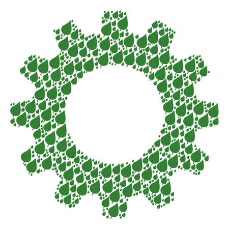 Vector plant leaf icons are formed into gear wheel combination. Equipment design concept constructed with plant leaf icons.