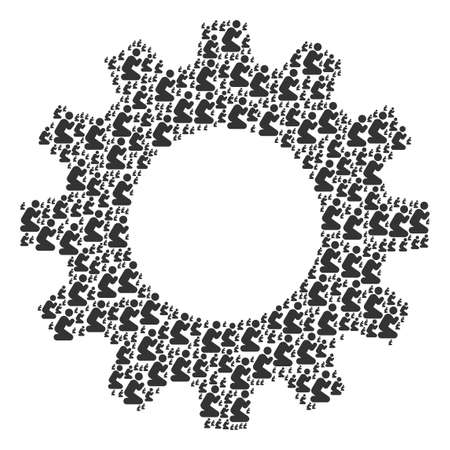 Vector praying person icons are organized into cog collage. Machinery design concept constructed from praying person icons.
