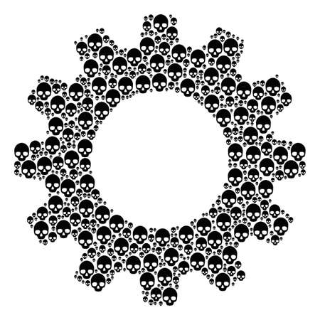 Vector skull icons are organized into gear combination. Mechanics design concept constructed of skull items.