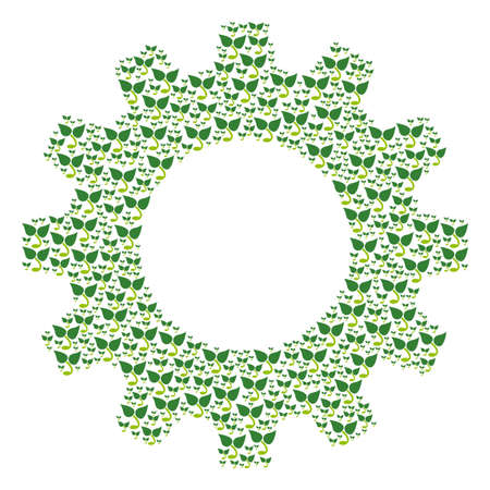 Vector sprout icons are composed into gearwheel mosaic. Development design concept constructed of sprout icons.