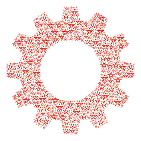 Vector star pentagram icons are grouped into gearwheel combination. Technical design concept constructed from star pentagram items.