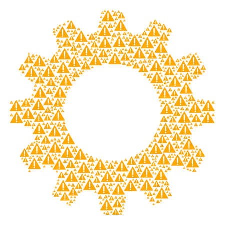 Vector warning icons are combined into cog mosaic. Service design concept constructed from warning objects. Illustration