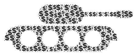 Military tank mosaic of dollars and round dots. Vector money icons are grouped into military tank mosaic.
