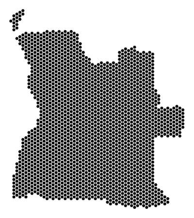 Hex-Tile Angola map. Vector territory plan on a white background. Abstract Angola map mosaic is made of hexagonal blots. Illustration