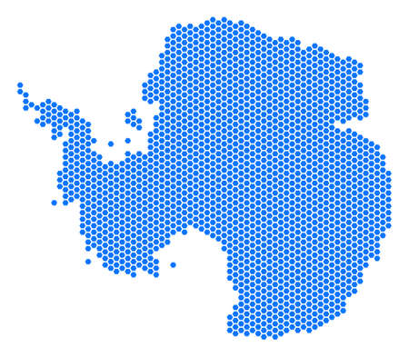 Hex-Tile Antarctica map. Vector territorial plan on a white background. Abstract Antarctica map mosaic is formed from hexagon dots.