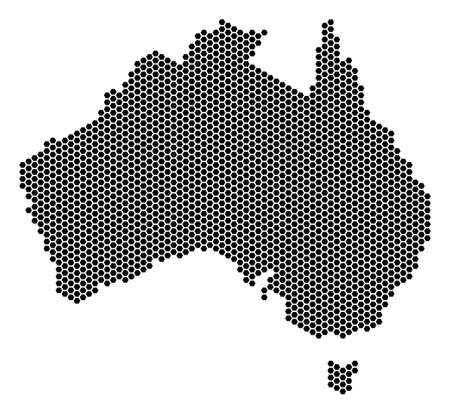 Hexagon Australia map. Vector geographic plan on a white background. Abstract Australia map composition is combined of hexagon pixels. Illustration