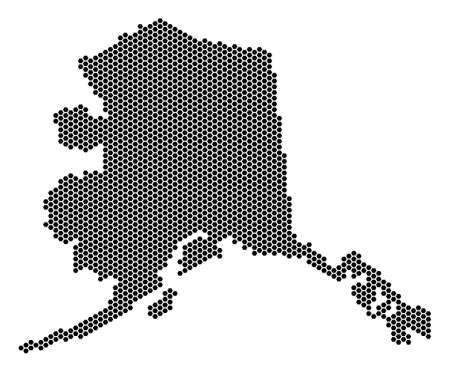 Honeycomb Alaska map. Vector territorial scheme on a white background. Abstract Alaska map collage is composed with hexagonal items.