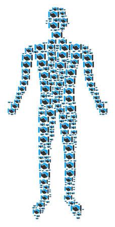 Acquisition handshake person representation. Vector acquisition handshake icons are grouped into man composition.  イラスト・ベクター素材