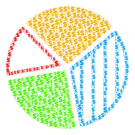 Pie chart composition of dollar symbols and round spots. Vector dollar currency pictograms are combined into pie chart illustration. Ilustrace
