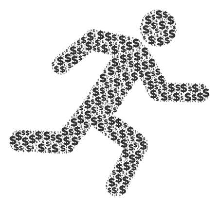 Running man mosaic of dollars and circle spots. Vector banking pictograms are arranged into running man collage.